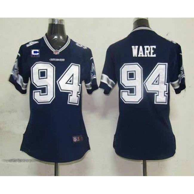 Women's Cowboys #94 DeMarcus Ware Navy Blue Team Color With C Patch Stitched NFL Elite Jersey