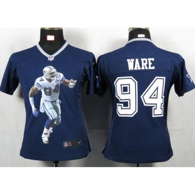 Women's Cowboys #94 DeMarcus Ware Navy Blue Team Color Portrait NFL Game Jersey