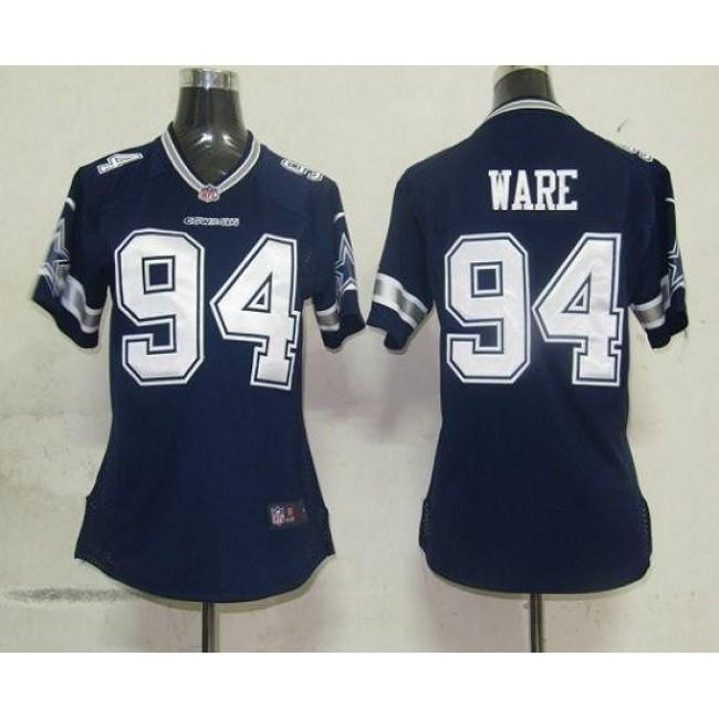 Women's Cowboys #94 DeMarcus Ware Navy Blue Team Color Stitched NFL Elite Jersey