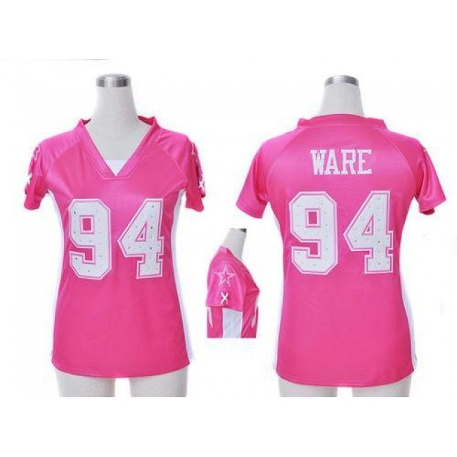 Women's Cowboys #94 DeMarcus Ware Pink Draft Him Name Number Top Stitched NFL Elite Jersey