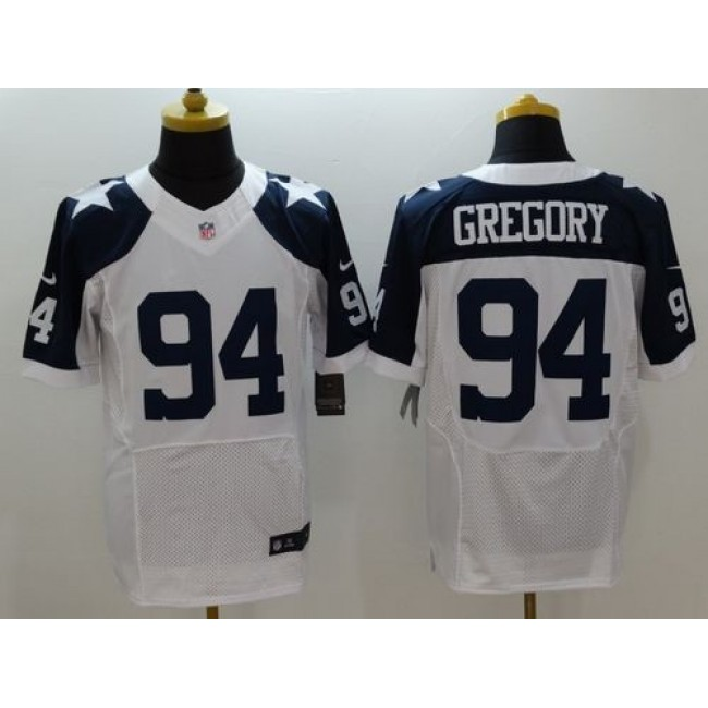 Nike Cowboys #94 Randy Gregory White Thanksgiving Throwback Men's Stitched NFL Elite Jersey