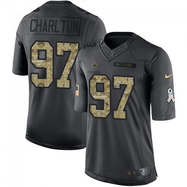 Dallas Cowboys #97 Taco Charlton Black Youth Stitched NFL Limited 2016 Salute to Service Jersey