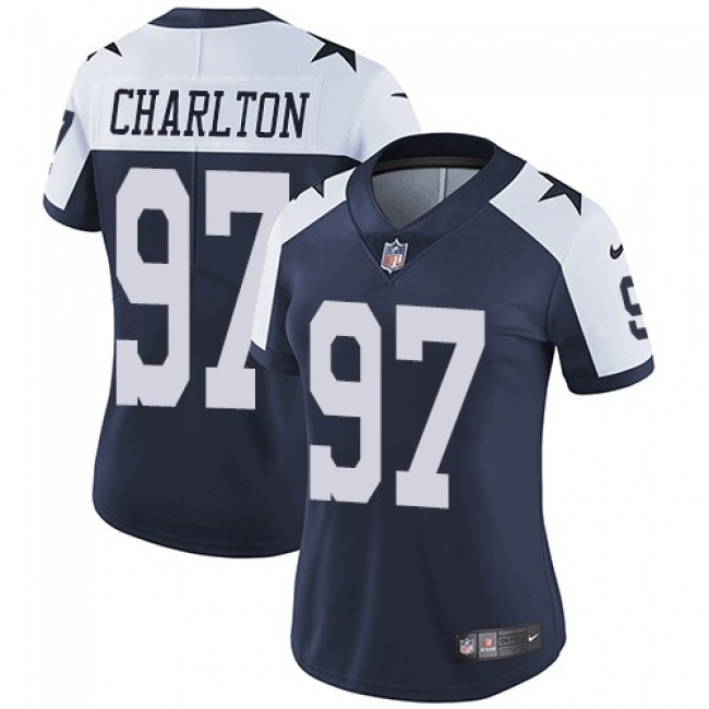 Women's Cowboys #97 Taco Charlton Navy Blue Thanksgiving Stitched NFL Vapor Untouchable Limited Throwback Jersey