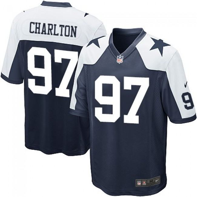 Dallas Cowboys #97 Taco Charlton Navy Blue Thanksgiving Youth Stitched NFL Throwback Elite Jersey
