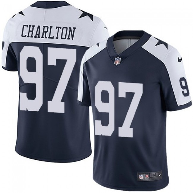 Dallas Cowboys #97 Taco Charlton Navy Blue Thanksgiving Youth Stitched NFL Vapor Untouchable Limited Throwback Jersey