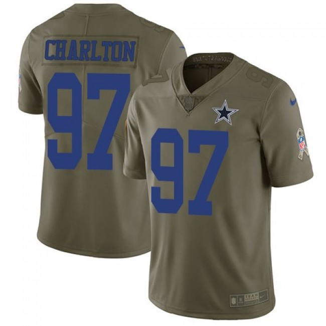 Dallas Cowboys #97 Taco Charlton Olive Youth Stitched NFL Limited 2017 Salute to Service Jersey