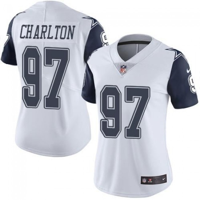 Women's Cowboys #97 Taco Charlton White Stitched NFL Limited Rush Jersey