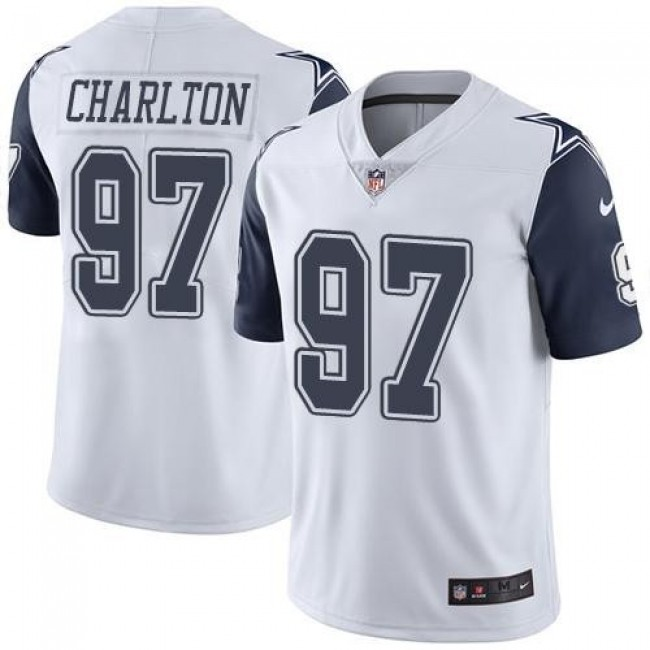 Dallas Cowboys #97 Taco Charlton White Youth Stitched NFL Limited Rush Jersey