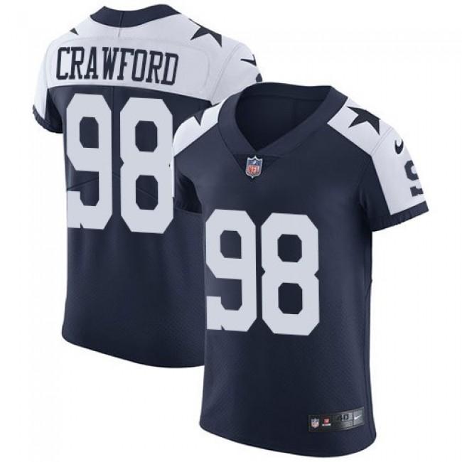 Nike Cowboys #98 Tyrone Crawford Navy Blue Thanksgiving Men's Stitched NFL Vapor Untouchable Throwback Elite Jersey