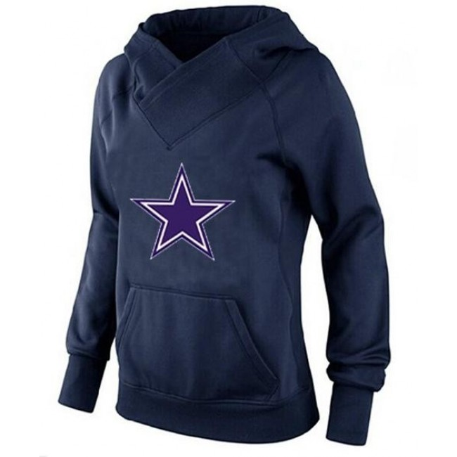 Women's Dallas Cowboys International Version Pullover Hoodie Navy Blue Jersey
