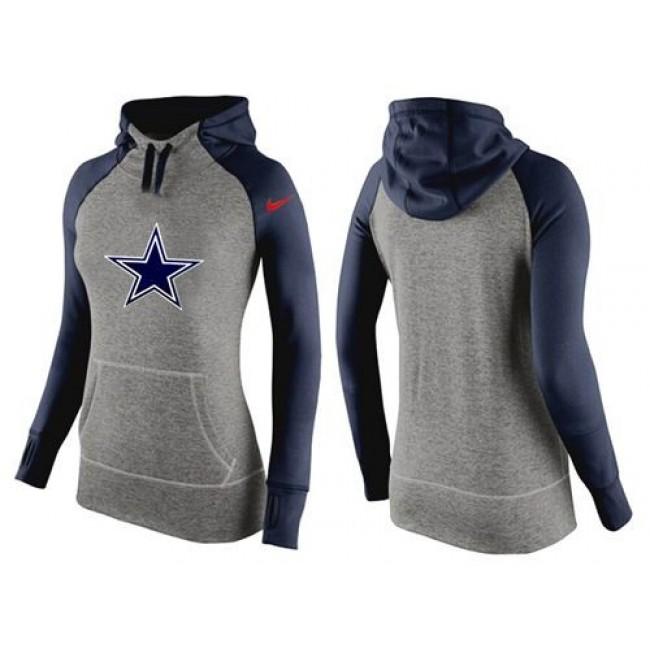 Women's Dallas Cowboys Hoodie Grey Dark Blue-2 Jersey