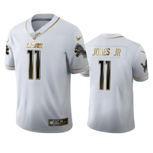 Detroit Lions #11 Marvin Jones Jr Men's Nike White Golden Edition Vapor Limited NFL 100 Jersey