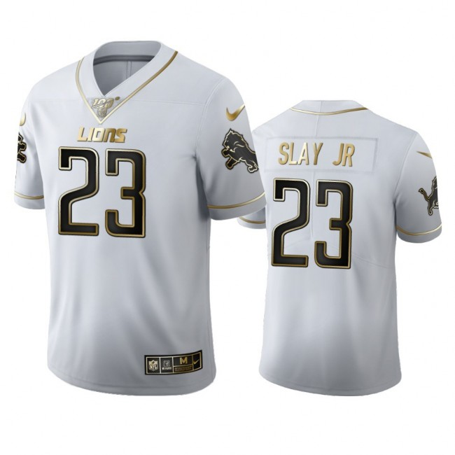 Detroit Lions #23 Darius Slay Jr Men's Nike White Golden Edition Vapor Limited NFL 100 Jersey