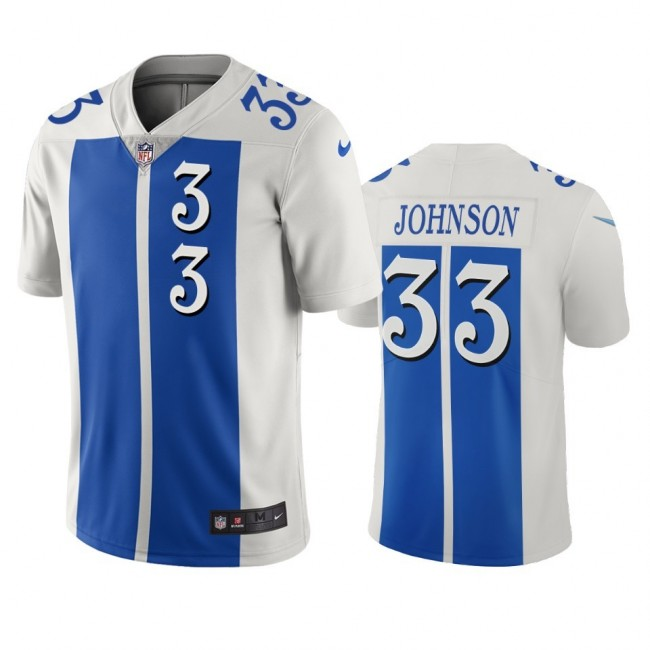 Detroit Lions #33 Kerryon Johnson White Blue Vapor Limited City Edition NFL Jersey