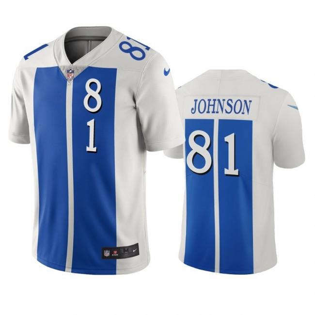 Detroit Lions #81 Calvin Johnson White Blue Vapor Limited City Edition NFL Jersey