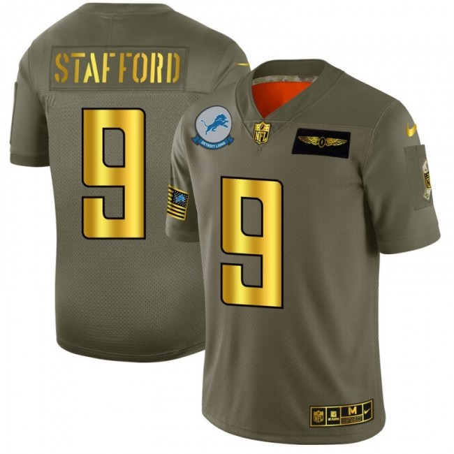Detroit Lions #9 Matthew Stafford NFL Men's Nike Olive Gold 2019 Salute to Service Limited Jersey