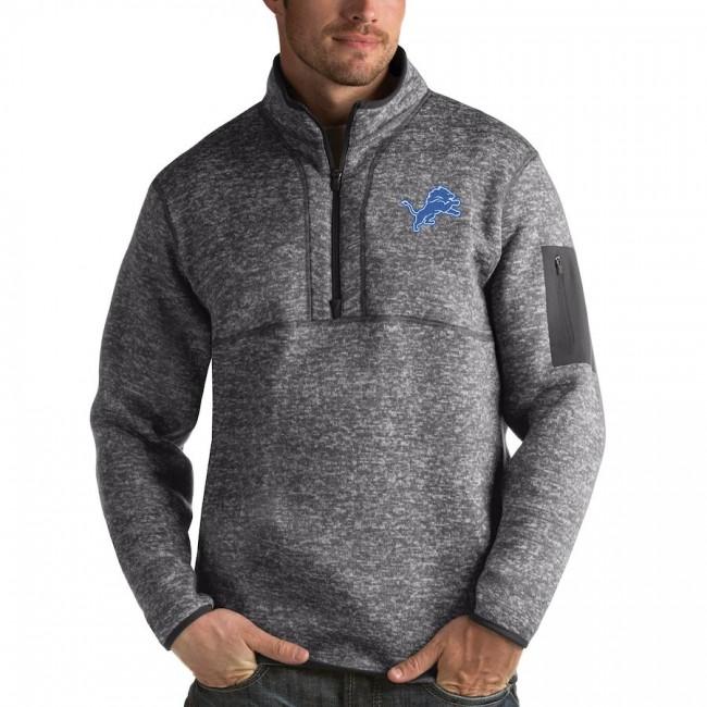 Detroit Lions Antigua Fortune Quarter-Zip Pullover Jacket Charcoal