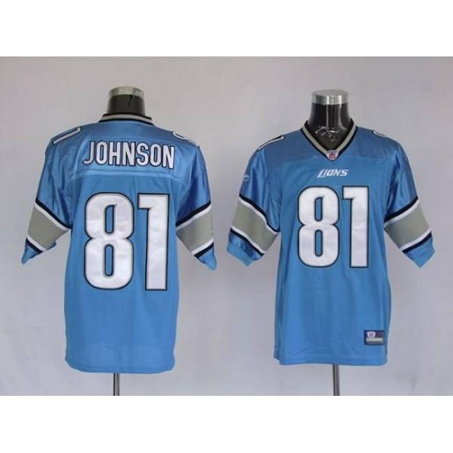 Lions #81 Calvin Johnson Blue Stitched NFL Jersey
