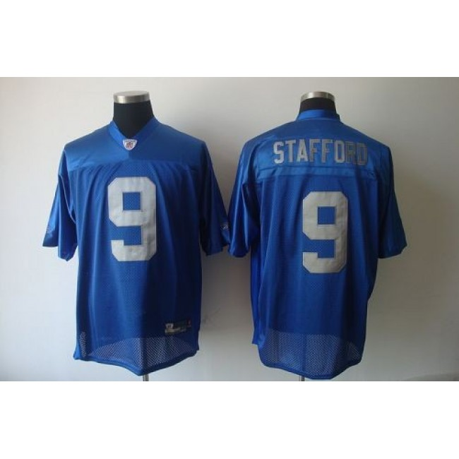 Lions #9 Matthew Stafford Blue Stitched Throwback NFL Jersey