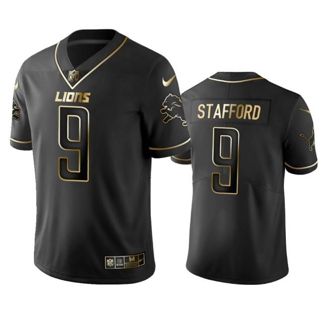 Lions #9 Matthew Stafford Men's Stitched NFL Vapor Untouchable Limited Black Golden Jersey