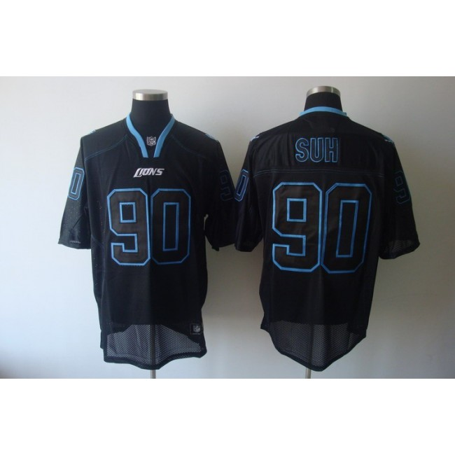 Lions #90 Ndamukong Suh Lights Out Black Stitched NFL Jersey