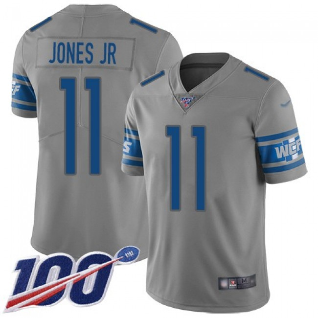 Nike Lions #11 Marvin Jones Jr Gray Men's Stitched NFL Limited Inverted Legend 100th Season Jersey