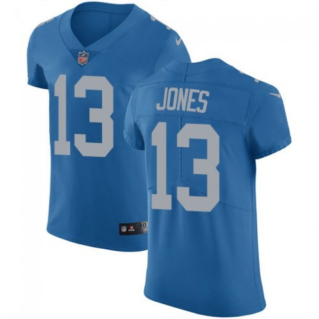 Nike Lions #13 T.J. Jones Blue Throwback Men's Stitched NFL Vapor Untouchable Elite Jersey