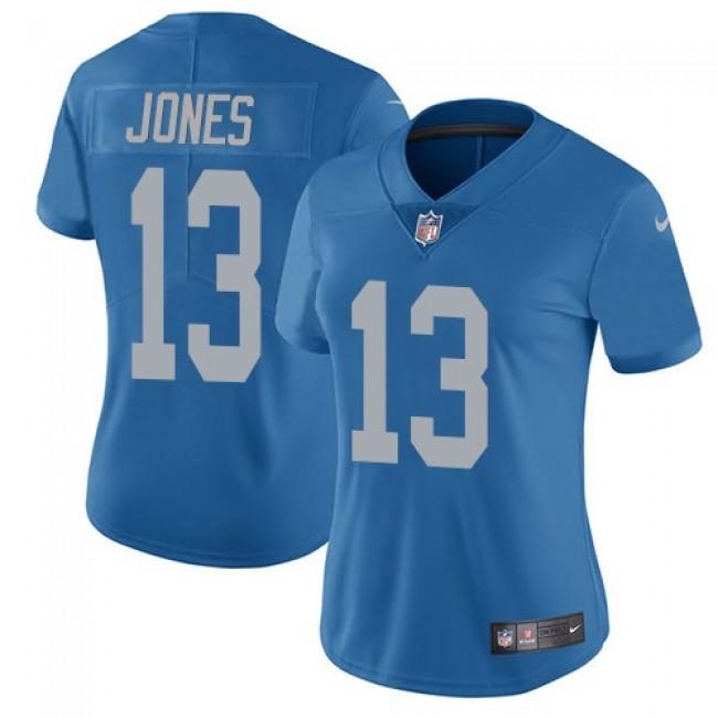 Women's Lions #13 T.J. Jones Blue Throwback Stitched NFL Vapor Untouchable Limited Jersey
