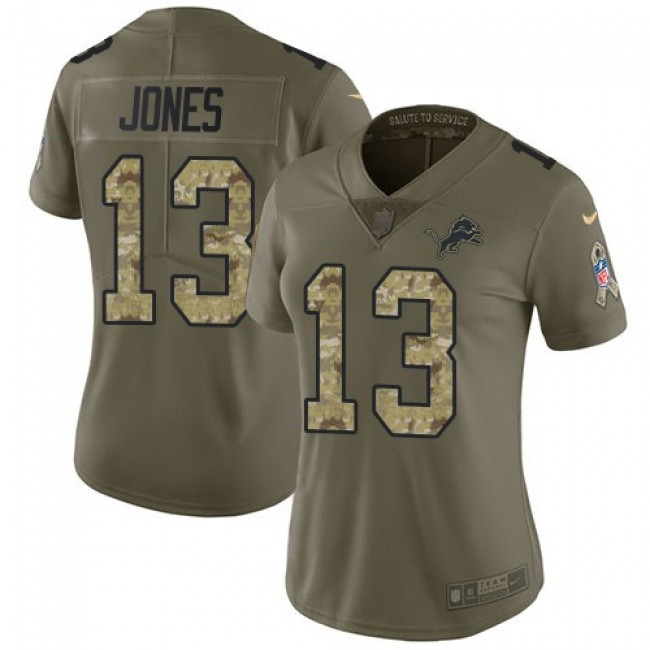 Women's Lions #13 T.J. Jones Olive Camo Stitched NFL Limited 2017 Salute to Service Jersey