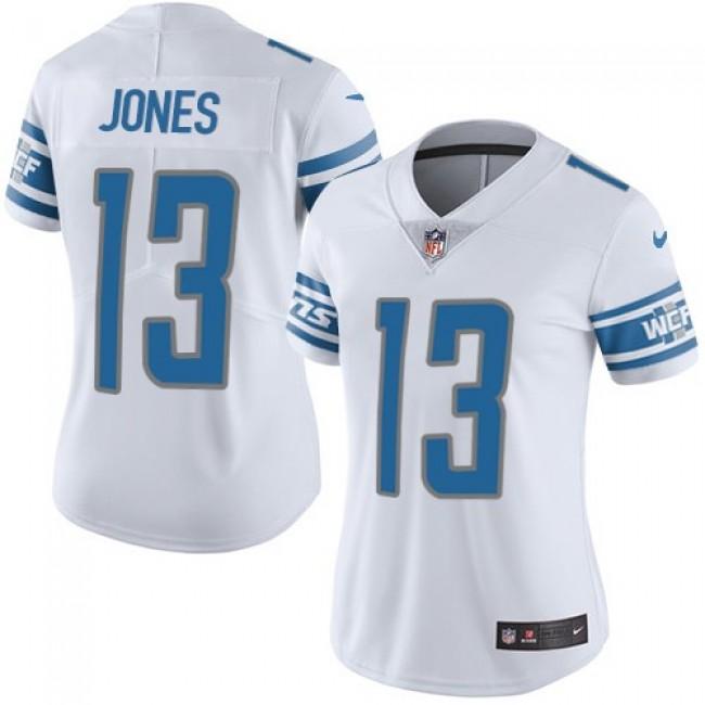 Women's Lions #13 T.J. Jones White Stitched NFL Vapor Untouchable Limited Jersey