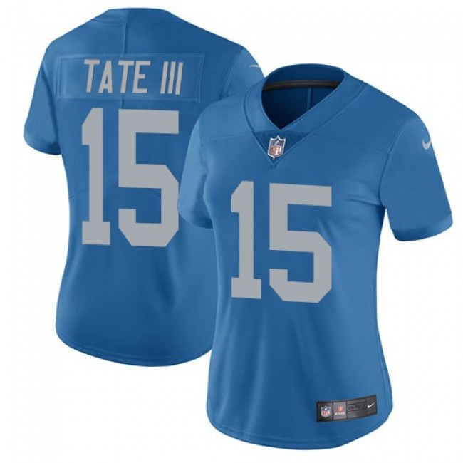 Women's Lions #15 Golden Tate III Blue Throwback Stitched NFL Vapor Untouchable Limited Jersey