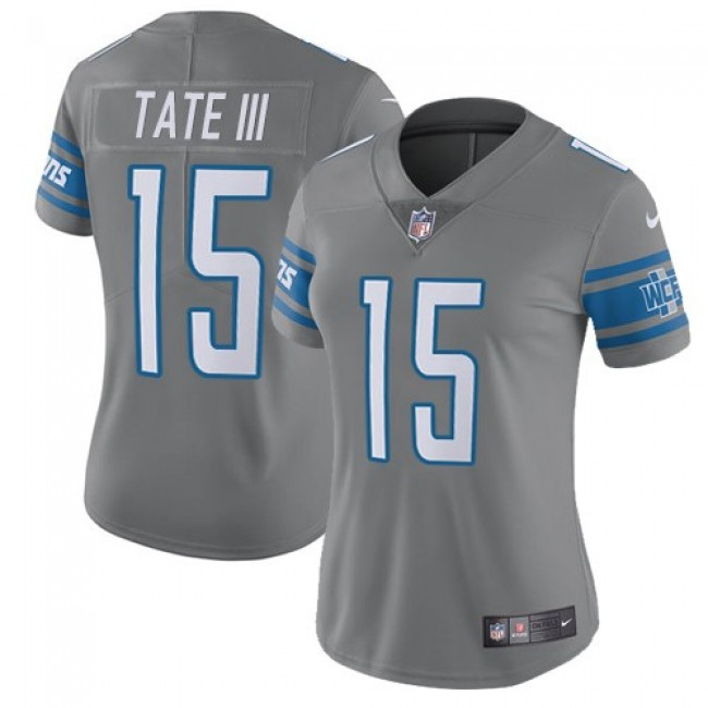 Women's Lions #15 Golden Tate III Gray Stitched NFL Limited Rush Jersey