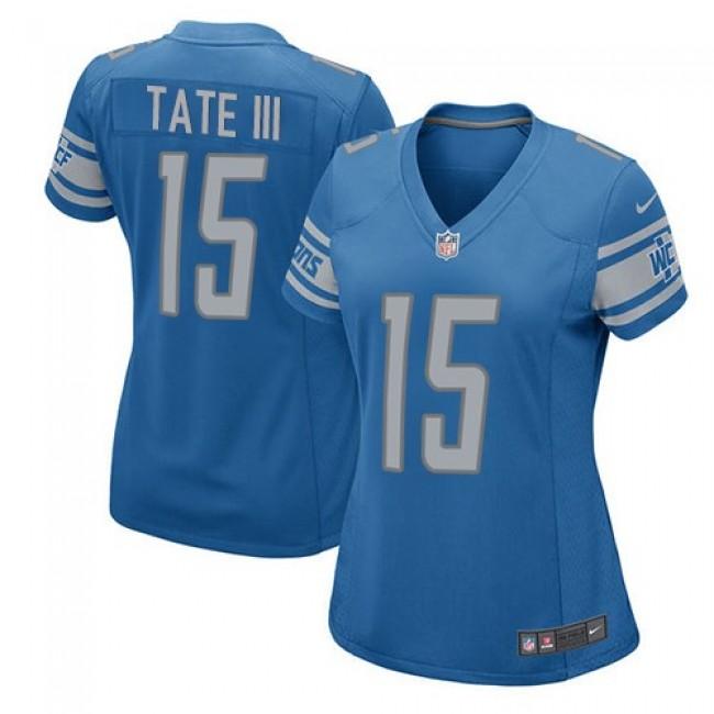 Women's Lions #15 Golden Tate III Light Blue Team Color Stitched NFL Elite Jersey