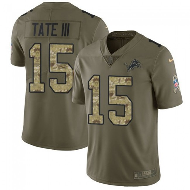 Detroit Lions #15 Golden Tate III Olive-Camo Youth Stitched NFL Limited 2017 Salute to Service Jersey