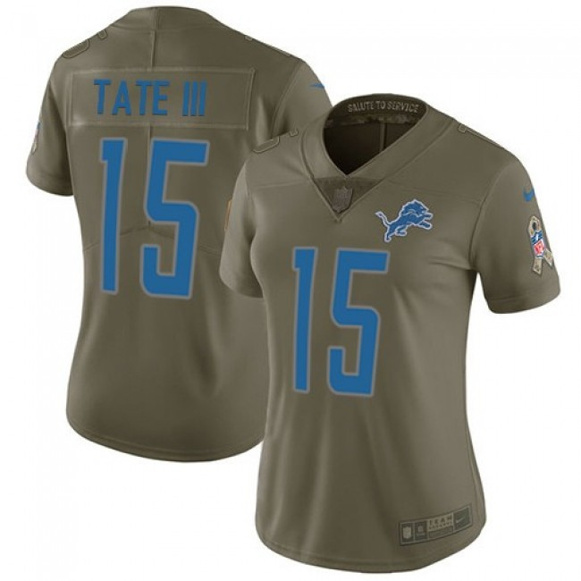 Women's Lions #15 Golden Tate III Olive Stitched NFL Limited 2017 Salute to Service Jersey