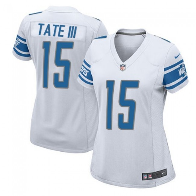 Women's Lions #15 Golden Tate III White Stitched NFL Elite Jersey