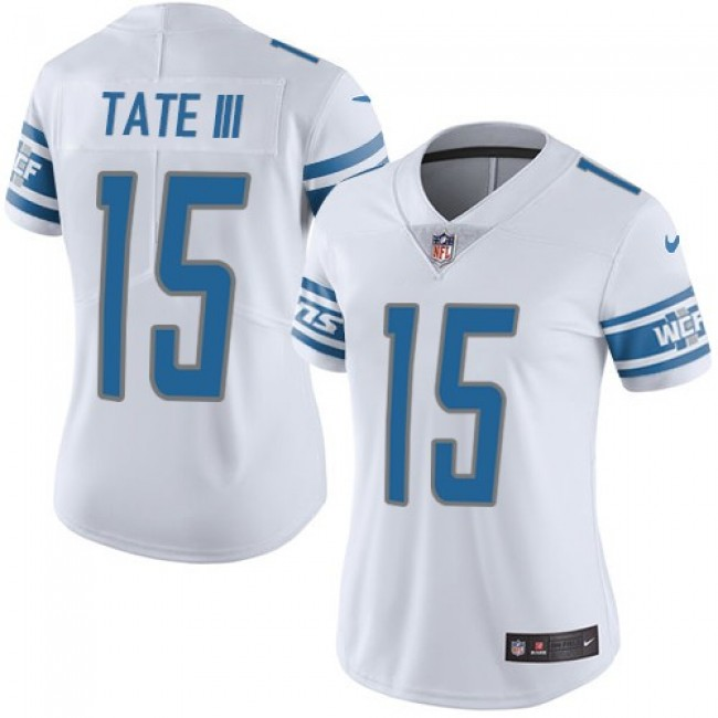 Women's Lions #15 Golden Tate III White Stitched NFL Vapor Untouchable Limited Jersey