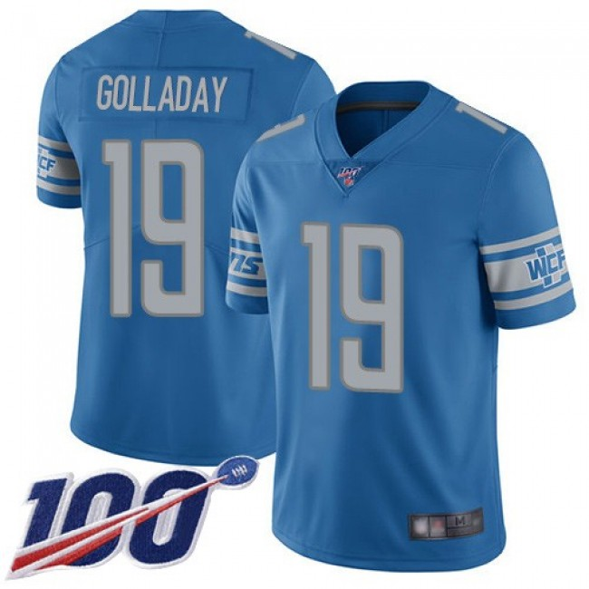 Nike Lions #19 Kenny Golladay Blue Team Color Men's Stitched NFL 100th Season Vapor Limited Jersey