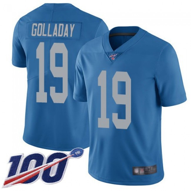 Nike Lions #19 Kenny Golladay Blue Throwback Men's Stitched NFL 100th Season Vapor Limited Jersey
