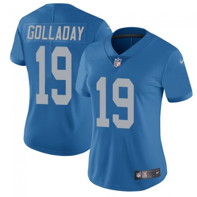 Women's Lions #19 Kenny Golladay Blue Throwback Stitched NFL Vapor Untouchable Limited Jersey