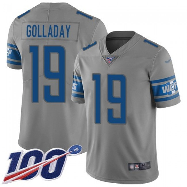 Nike Lions #19 Kenny Golladay Gray Men's Stitched NFL Limited Inverted Legend 100th Season Jersey