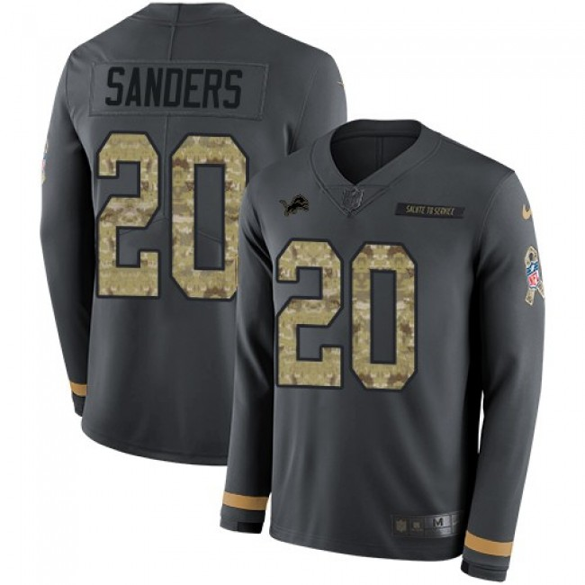 Nike Lions #20 Barry Sanders Anthracite Salute to Service Men's Stitched NFL Limited Therma Long Sleeve Jersey