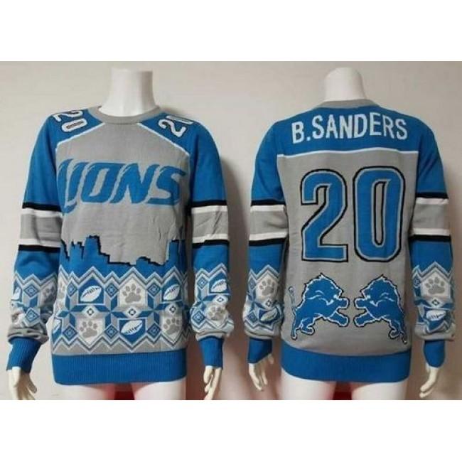 Nike Lions #20 Barry Sanders Blue/Grey Men's Ugly Sweater