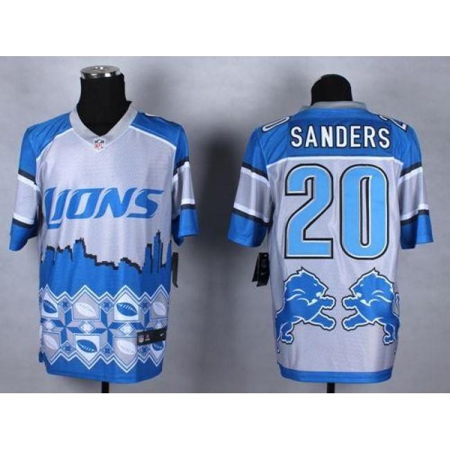 Nike Lions #20 Barry Sanders Blue Men's Stitched NFL Elite Noble Fashion Jersey