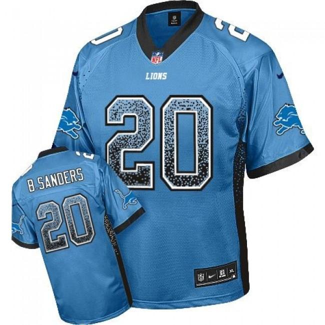 Nike Lions #20 Barry Sanders Blue Team Color Men's Stitched NFL Elite Drift Fashion Jersey