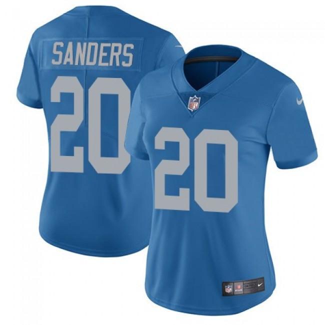 Women's Lions #20 Barry Sanders Blue Throwback Stitched NFL Vapor Untouchable Limited Jersey