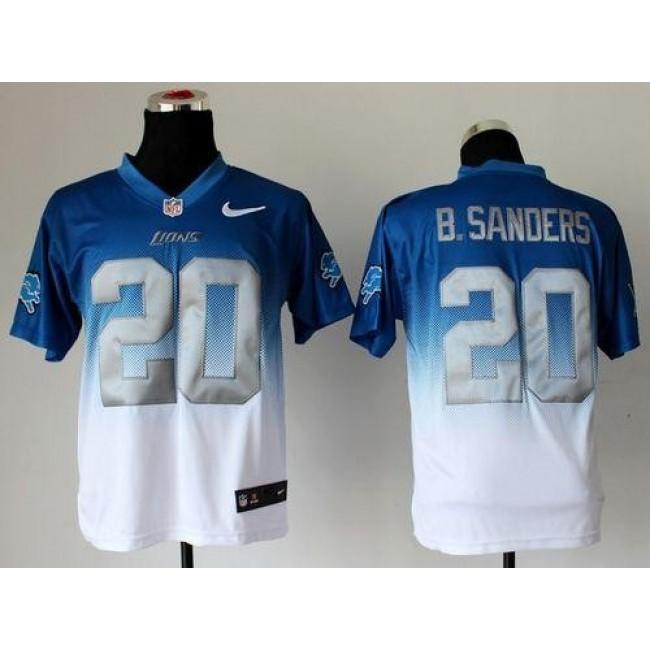 Nike Lions #20 Barry Sanders Blue/White Men's Stitched NFL Elite Fadeaway Fashion Jersey