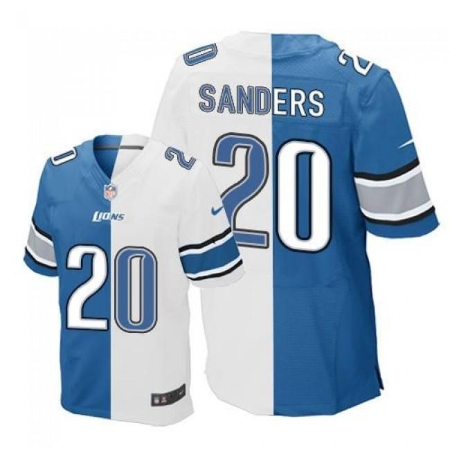 Nike Lions #20 Barry Sanders Blue/White Men's Stitched NFL Elite Split Jersey