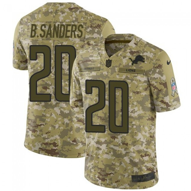 Nike Lions #20 Barry Sanders Camo Men's Stitched NFL Limited 2018 Salute To Service Jersey
