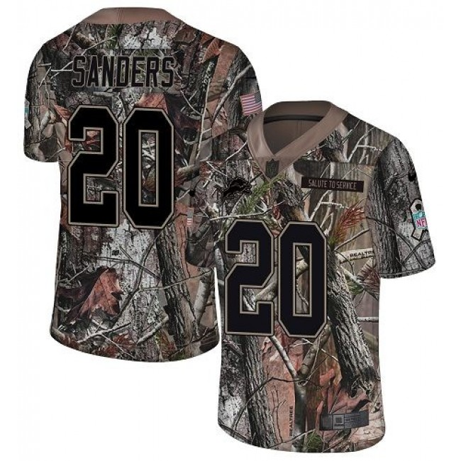 Nike Lions #20 Barry Sanders Camo Men's Stitched NFL Limited Rush Realtree Jersey